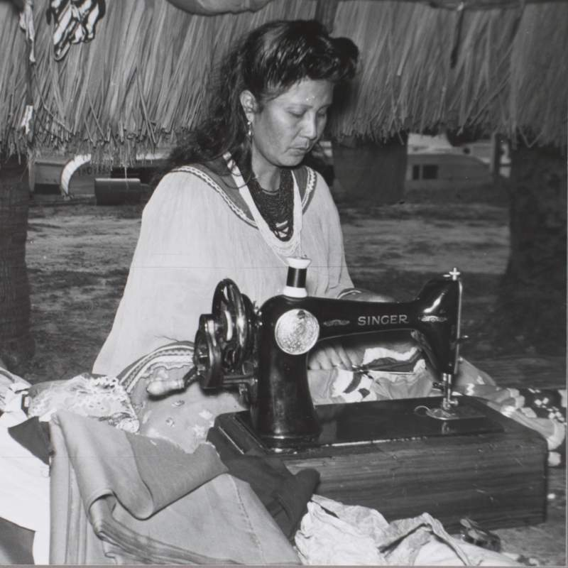 Seminole Woman sewing